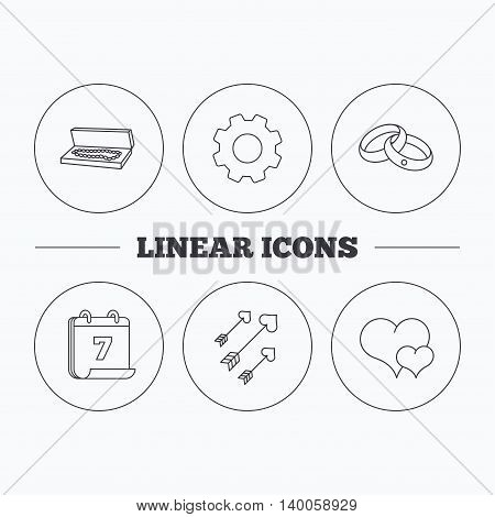 Love heart, jewelry and wedding rings icons. Arrows with hearts linear sign. Flat cogwheel and calendar symbols. Linear icons in circle buttons. Vector