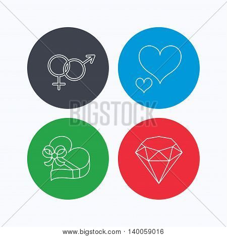 Love heart, gift box and brilliant icons. Male and female linear signs. Linear icons on colored buttons. Flat web symbols. Vector