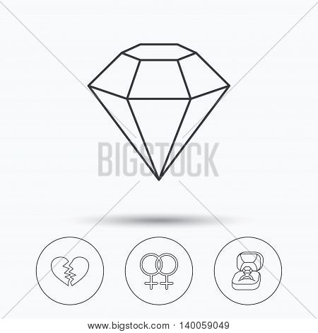 Broken heart, diamond and engagement ring icons. Lesbian love linear sign. Linear icons in circle buttons. Flat web symbols. Vector