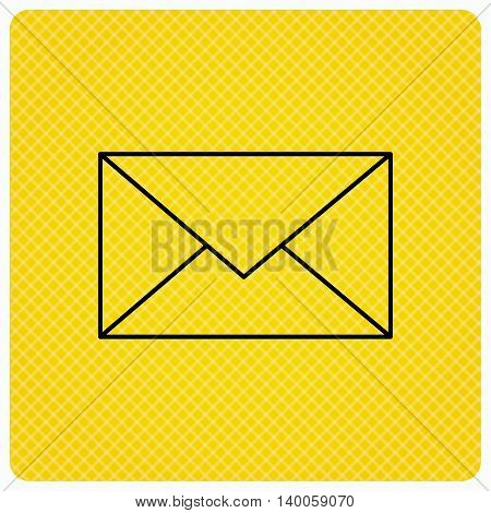 Envelope mail icon. Email message sign. Internet letter symbol. Linear icon on orange background. Vector
