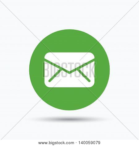 Envelope icon. Send email message sign. Internet mailing symbol. Flat web button with icon on white background. Green round pressbutton with shadow. Vector