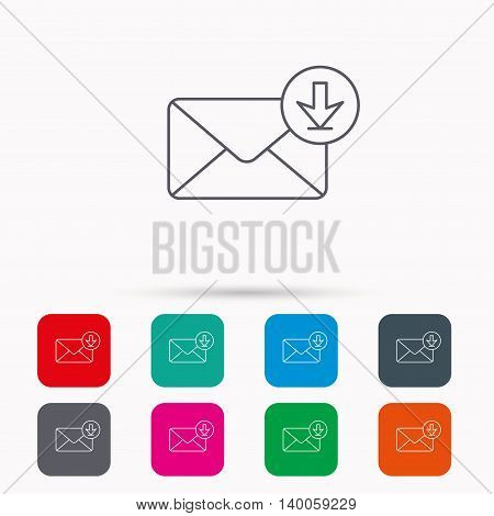 Mail inbox icon. Email message sign. Download arrow symbol. Linear icons in squares on white background. Flat web symbols. Vector