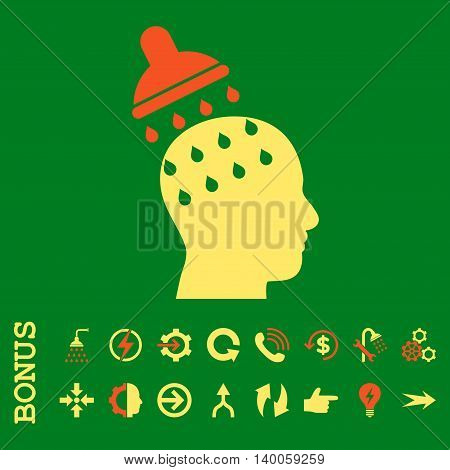 Brain Washing glyph bicolor icon. Image style is a flat pictogram symbol, orange and yellow colors, green background.