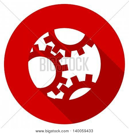 gear red vector icon, circle flat design internet button, web and mobile app illustration