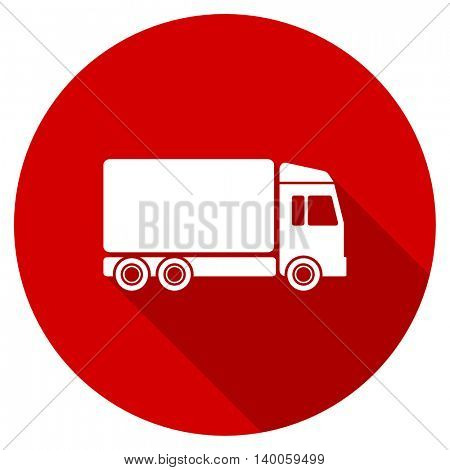 delivery red vector icon, circle flat design internet button, web and mobile app illustration