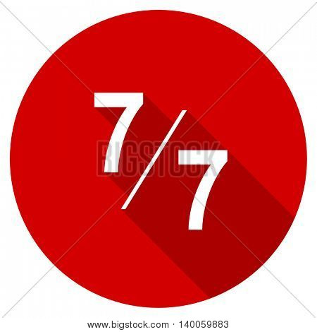 7 per 7 red vector icon, circle flat design internet button, web and mobile app illustration