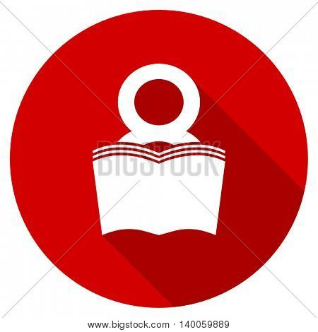 book red vector icon, circle flat design internet button, web and mobile app illustration