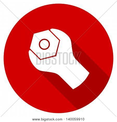 tools red vector icon, circle flat design internet button, web and mobile app illustration