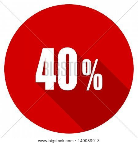 40 percent red vector icon, circle flat design internet button, web and mobile app illustration