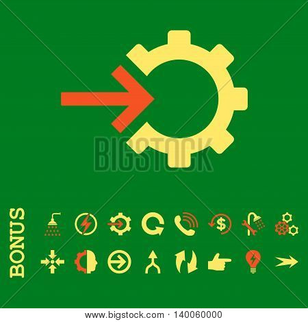 Cog Integration glyph bicolor icon. Image style is a flat pictogram symbol, orange and yellow colors, green background.