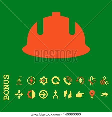 Construction Helmet glyph bicolor icon. Image style is a flat pictogram symbol, orange and yellow colors, green background.