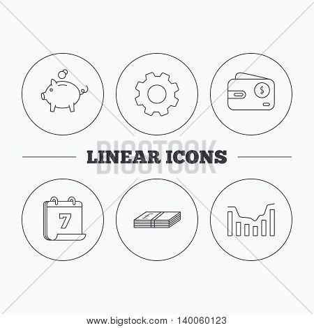 Piggy bank, cash money and dynamics chart icons. USD wallet linear sign. Flat cogwheel and calendar symbols. Linear icons in circle buttons. Vector