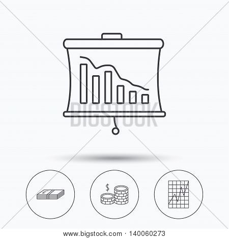 Chart, cash money and statistics icons. Coins linear sign. Linear icons in circle buttons. Flat web symbols. Vector