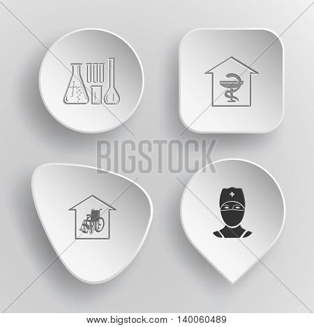 4 images: chemical test tubes, pharmacy, nursing home, doctor. Medical set. White concave buttons on gray background. Vector icons.