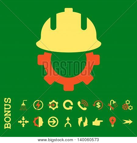 Development Helmet glyph bicolor icon. Image style is a flat iconic symbol, orange and yellow colors, green background.