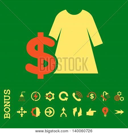 Dress Price glyph bicolor icon. Image style is a flat iconic symbol, orange and yellow colors, green background.