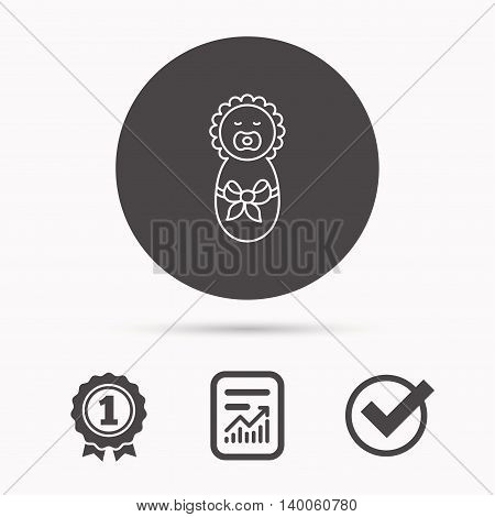 Newborn baby icon. Toddler with bow sign. Child wrapped in blanket symbol. Report document, winner award and tick. Round circle button with icon. Vector