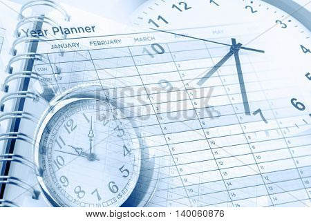 Clocks, calendar page and year planner
