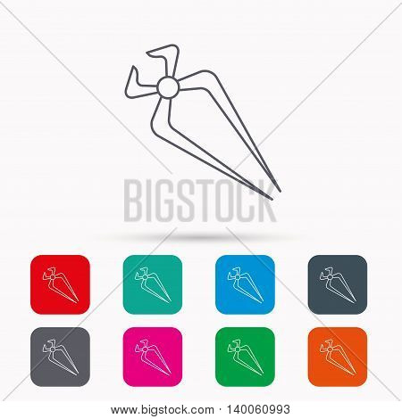 Nippers icon. Repairing service tool sign. Linear icons in squares on white background. Flat web symbols. Vector
