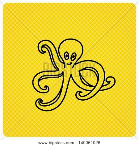 Octopus icon. Ocean devilfish sign. Linear icon on orange background. Vector