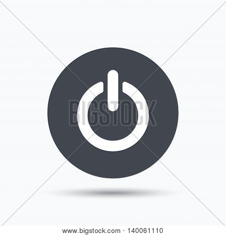 On, off power icon. Energy switch symbol. Flat web button with icon on white background. Gray round pressbutton with shadow. Vector