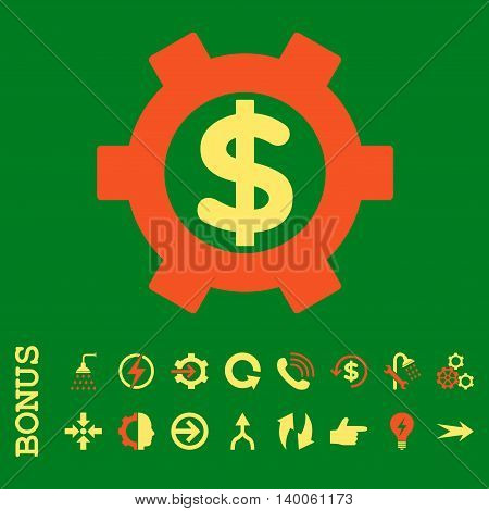 Financial Settings glyph bicolor icon. Image style is a flat iconic symbol, orange and yellow colors, green background.