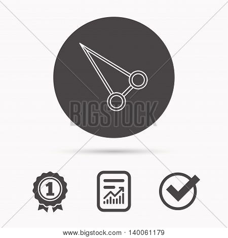 Pean forceps icon. Medical surgery tool sign. Report document, winner award and tick. Round circle button with icon. Vector