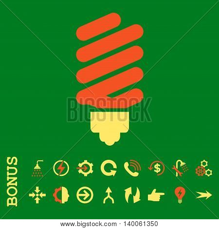 Fluorescent Bulb glyph bicolor icon. Image style is a flat iconic symbol, orange and yellow colors, green background.