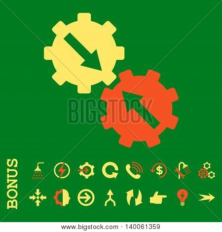 Gear Integration glyph bicolor icon. Image style is a flat pictogram symbol, orange and yellow colors, green background.