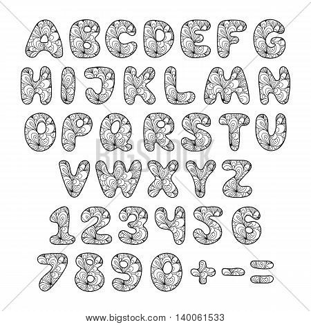 Hand draw ornamental font. Vector illustration in doodle style