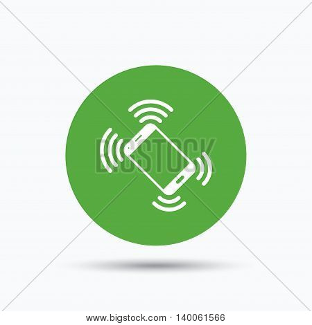 Smartphone call icon. Mobile phone communication symbol. Flat web button with icon on white background. Green round pressbutton with shadow. Vector