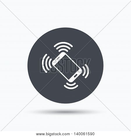 Smartphone call icon. Mobile phone communication symbol. Flat web button with icon on white background. Gray round pressbutton with shadow. Vector