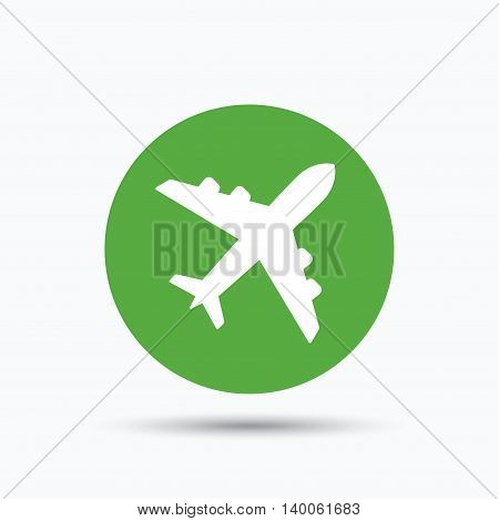 Plane icon. Flight transport symbol. Flat web button with icon on white background. Green round pressbutton with shadow. Vector