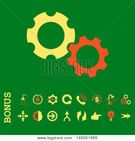 Gears glyph bicolor icon. Image style is a flat pictogram symbol, orange and yellow colors, green background.