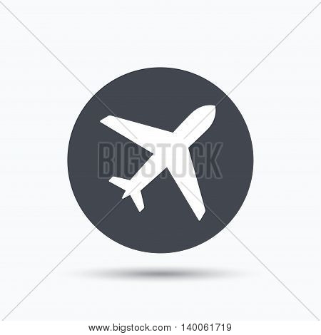 Plane icon. Flight transport symbol. Flat web button with icon on white background. Gray round pressbutton with shadow. Vector