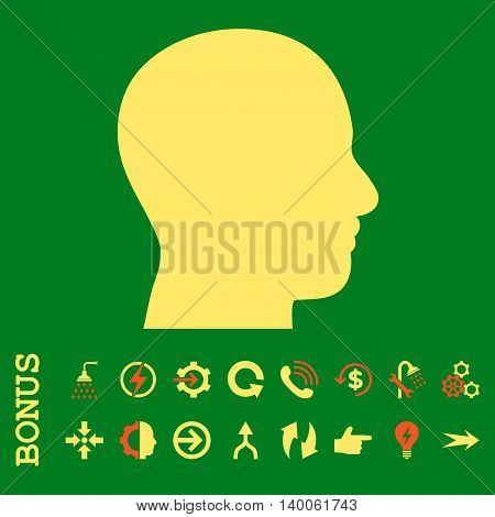 Head Profile glyph bicolor icon. Image style is a flat iconic symbol, orange and yellow colors, green background.