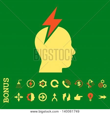 Headache glyph bicolor icon. Image style is a flat iconic symbol, orange and yellow colors, green background.