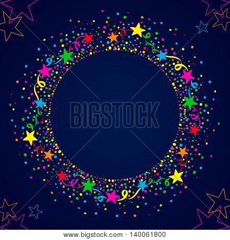 Colorful stars connected by coil around a circle of colorful dots. Dark blue background for parties with space for text in the middle