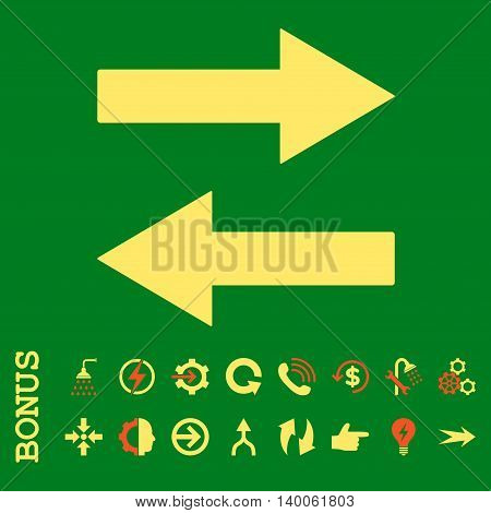 Horizontal Flip Arrows glyph bicolor icon. Image style is a flat iconic symbol, orange and yellow colors, green background.