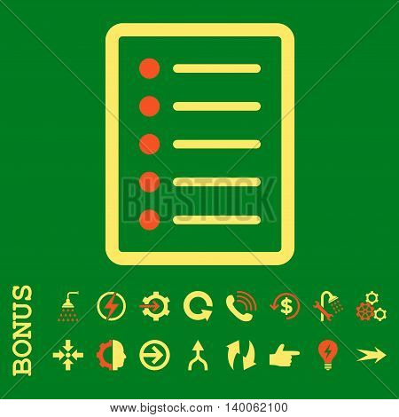List Page glyph bicolor icon. Image style is a flat pictogram symbol, orange and yellow colors, green background.