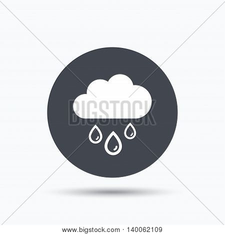 Cloud with rain drops icon. Rainy day symbol. Flat web button with icon on white background. Gray round pressbutton with shadow. Vector