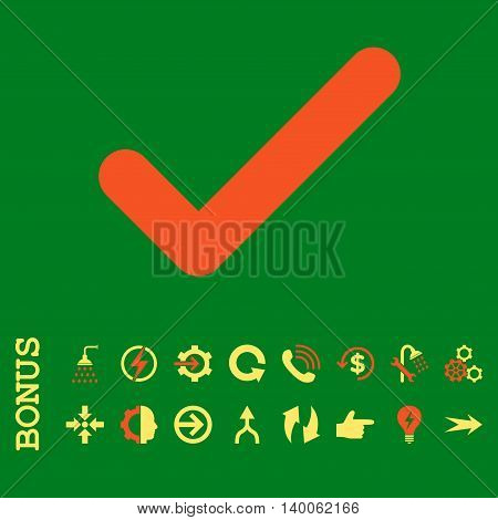 Ok glyph bicolor icon. Image style is a flat iconic symbol, orange and yellow colors, green background.