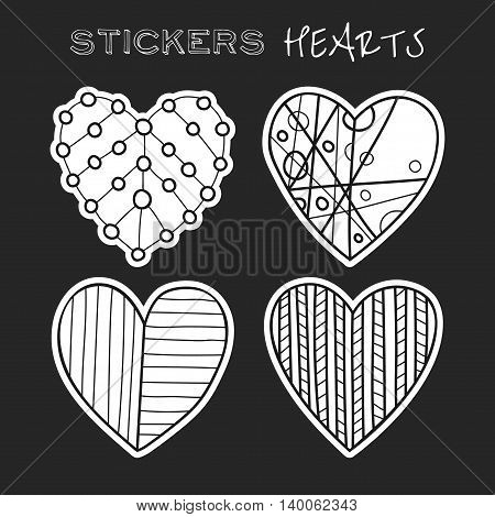 Decorative black and white hearts. Set of stickers on dark background. Vector illustration