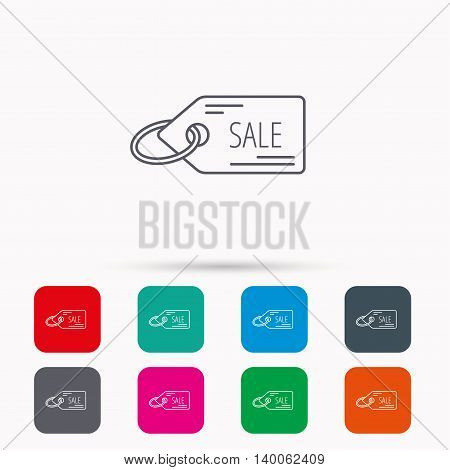 Sale shopping tag icon. Discount label sign. Linear icons in squares on white background. Flat web symbols. Vector