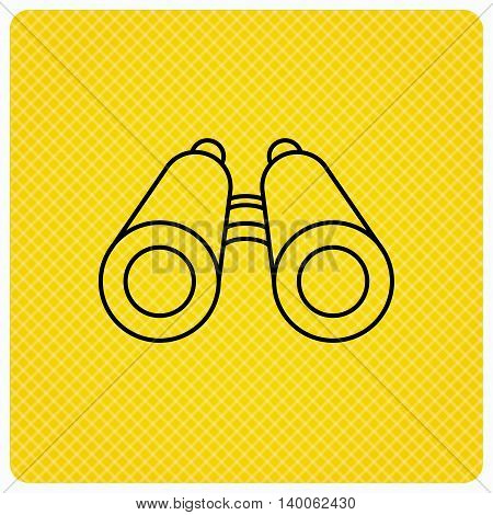 Search icon. Binoculars sign. Spyglass symbol. Linear icon on orange background. Vector