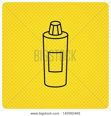 Shampoo bottle icon. Liquid soap sign. Linear icon on orange background. Vector