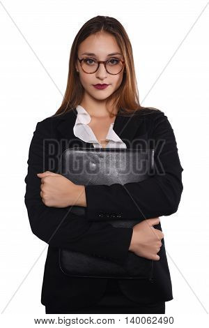 Portrait of a beautiful businesswoman with a folder. Isolated white background.