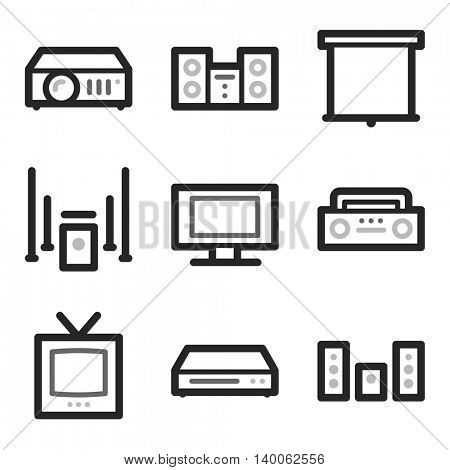 Audio video moble icons, sound and cinema signs.