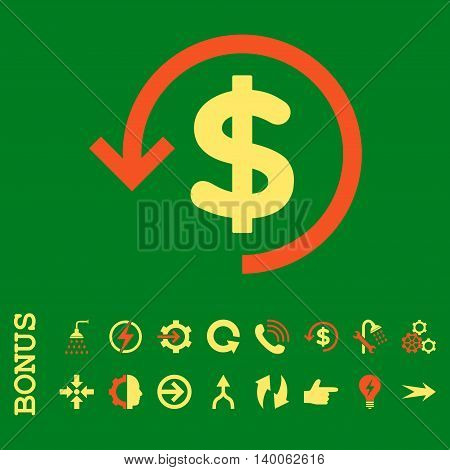 Refund glyph bicolor icon. Image style is a flat pictogram symbol, orange and yellow colors, green background.