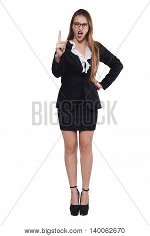Portrait of a beautiful businesswoman. Isolated white background.